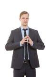 Γλώσσα του σώματος κοστούμι επιχειρησιακών στοκ φωτογραφίες