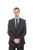 Γλώσσα του σώματος το άτομο στο επιχειρησιακό κοστούμι απομόνωσε το λευκό στοκ εικόνες