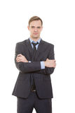 Γλώσσα του σώματος το άτομο στο επιχειρησιακό κοστούμι απομόνωσε το λευκό στοκ φωτογραφία