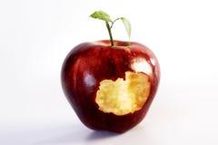 δάγκωμα μήλων έξω Στοκ Εικόνες