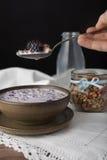 Δάγκωμα του muesli με το γάλα στοκ φωτογραφίες με δικαίωμα ελεύθερης χρήσης