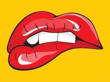 Δάγκωμα των κόκκινων χειλικών δοντιών της Στοκ φωτογραφία με δικαίωμα ελεύθερης χρήσης