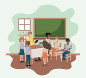 Δάσκαλος στην τάξη με τους σπουδαστές απεικόνιση αποθεμάτων
