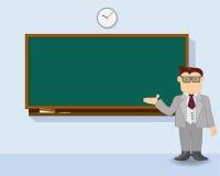 Δάσκαλος στο διάνυσμα πινάκων κιμωλίας Στοκ Εικόνες