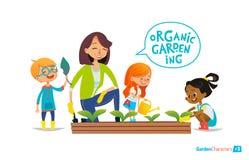 Δάσκαλος και παιδιά που συμμετέχονται στην κηπουρική στο κατώφλι ελεύθερη απεικόνιση δικαιώματος