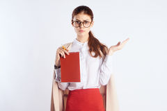 Δάσκαλος, κενό διάστημα για την αντιγραφή, κόκκινο σημειωματάριο στοκ εικόνες