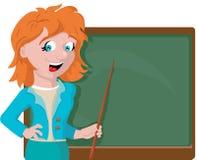 Δάσκαλος με έναν δείκτη κοντά στον πίνακα στοκ εικόνα με δικαίωμα ελεύθερης χρήσης