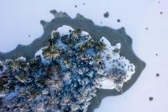 Δάσος και βράχος που περιβάλλονται με το πάγωμα της λίμνης στοκ εικόνες