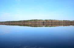 Δάσος και η αντανάκλασή του στην ημέρα ποταμών την άνοιξη Στοκ φωτογραφία με δικαίωμα ελεύθερης χρήσης