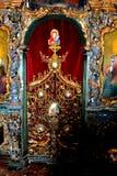 Δάσος και χρυσός Εσωτερικό του ορθόδοξου μοναστηριού Zamfira, Ρουμανία Στοκ Φωτογραφία
