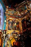 Δάσος και χρυσός Εσωτερικό του ορθόδοξου μοναστηριού Zamfira, Ρουμανία Στοκ εικόνα με δικαίωμα ελεύθερης χρήσης