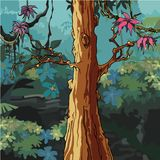 Δάσος κινούμενων σχεδίων με το μεγάλο δέντρο με τα ρόδινα φύλλα Στοκ φωτογραφία με δικαίωμα ελεύθερης χρήσης