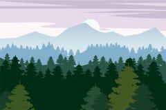 Δάσος πεύκων και διανυσματικά υπόβαθρα βουνών Κομψή απεικόνιση σκιαγραφιών τοπίων πανοράματος, διάνυσμα, που απομονώνεται Στοκ Εικόνα