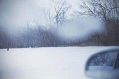 Δάσος που βλέπει χιονώδες μέσω ενός παραθύρου αυτοκινήτων στοκ εικόνες