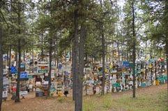 Δάσος σημαδιών εθνικών οδών της Αλάσκας Στοκ Φωτογραφία