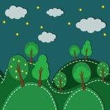 Δάσος τη νύχτα άνευ ραφής Στοκ εικόνα με δικαίωμα ελεύθερης χρήσης