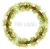Δάφνη δέντρων - στρογγυλό πλαίσιο διανυσματική απεικόνιση