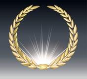 Δάφνη βραβείων που απομονώνεται σε ένα διαφανές υπόβαθρο Πρότυπο νικητών Σύμβολο της νίκης και του επιτεύγματος όμορφο χρυσό διάν απεικόνιση αποθεμάτων