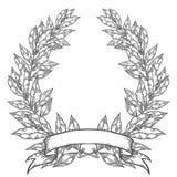 Δάφνη με τη συρμένη χέρι διανυσματική απεικόνιση φύλλων κόλπων κορδελλών Εκλεκτής ποιότητας διακοσμητικό στεφάνι δαφνών απεικόνιση αποθεμάτων