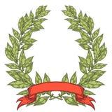 Δάφνη πράσινη με την κόκκινη συρμένη χέρι διανυσματική απεικόνιση φύλλων κόλπων κορδελλών απεικόνιση αποθεμάτων