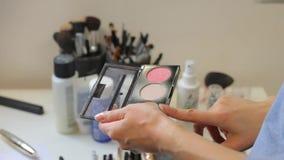 Δάχτυλο που δείχνει το χρώμα της παλέτας σκονών, κινηματογράφηση σε πρώτο πλάνο απόθεμα βίντεο