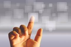 Δάχτυλο σχετικά με τη διαφανή ψηφιακή οθόνη αφής Στοκ Εικόνες