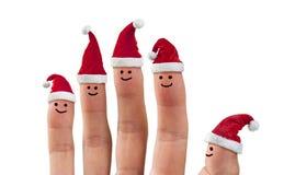 Δάχτυλα καπέλων Santa Χριστουγέννων Στοκ φωτογραφία με δικαίωμα ελεύθερης χρήσης