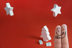 Δάχτυλα 2 Χριστουγέννων Στοκ φωτογραφία με δικαίωμα ελεύθερης χρήσης