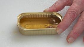 Δάχτυλα Man's που κρατούν τον κασσίτερο τρώγοντας τα καπνισμένα όστρακα απόθεμα βίντεο