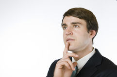 Δάχτυλο διευθυντών στο πηγούνι στοκ εικόνα με δικαίωμα ελεύθερης χρήσης