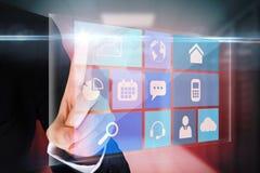 Δάχτυλο που δείχνει app τη διεπαφή επιλογών Στοκ Εικόνες