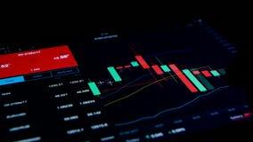 Δάχτυλο που τυλίγει τις οικονομικές πληροφορίες για τη μαύρη επίδειξη υπολογιστών ταμπλετών φιλμ μικρού μήκους