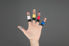 Δάχτυλο που χρωματίζεται όπως τον ποδοσφαιριστή Στοκ Εικόνες