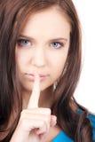 Δάχτυλο στα χείλια στοκ φωτογραφίες