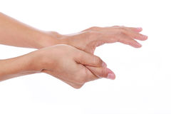 Δάχτυλο ώθησης Επίπονος αντίχειρας γυναικών στοκ εικόνες