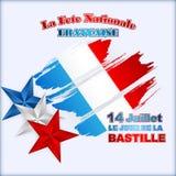 Δέκατος τέταρτος εθνικός εορτασμός Ιουλίου του υποβάθρου της Γαλλίας με τα αστέρια στα χρώματα εθνικών σημαιών Στοκ εικόνες με δικαίωμα ελεύθερης χρήσης