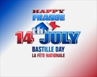 Δέκατος τέταρτος Ιουλίου, ημέρα Bastille, εθνική μέρα της Γαλλίας Στοκ Εικόνα