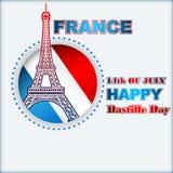 Δέκατου τέταρτου Ιουλίου, της ημέραης Bastille της Γαλλίας, υπόβαθρο με τον πύργο του Άιφελ Στοκ εικόνα με δικαίωμα ελεύθερης χρήσης