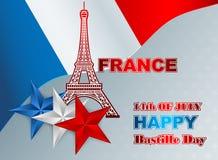 Δέκατου τέταρτου Ιουλίου, της ημέραης Bastille της Γαλλίας, υπόβαθρο με τον πύργο του Άιφελ Στοκ Εικόνες