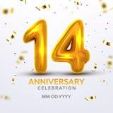 Δέκατο τέταρτο διάνυσμα αριθμού εορτασμού επετείου ελεύθερη απεικόνιση δικαιώματος