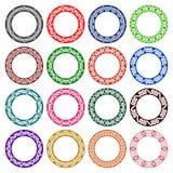 Δέκα έξι χρωματισμένες πιάτα διακοσμήσεις Στοκ Εικόνες