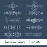 Δέκα διακοσμητικά σύνορα στο άσπρο χρώμα Σύνολο 1 Στοκ Εικόνες