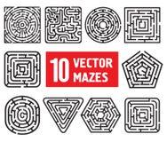 Δέκα διανυσματικοί λαβύρινθοι Στοκ εικόνα με δικαίωμα ελεύθερης χρήσης