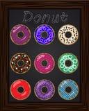 Δέκα όμορφα ζωηρόχρωμα donuts με το λούστρο Στοκ Εικόνα