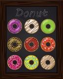 Δέκα όμορφα ζωηρόχρωμα donuts με το λούστρο Στοκ εικόνες με δικαίωμα ελεύθερης χρήσης