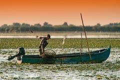 Δέλτα Δούναβη, Ρουμανία, τον Αύγουστο του 2017: Ψαράς που πιάνει τα ψάρια στο s στοκ εικόνες