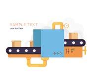 Δέματα συσκευασίας μεταφορέων Επίπεδη έννοια σχεδίου για τη διαδικασία technlology Διανυσματική απεικόνιση για τα εμβλήματα Ιστού απεικόνιση αποθεμάτων