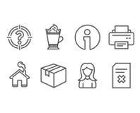 Δέμα, καφές Latte και εικονίδια γυναικών Ο εκτυπωτής, Headhunter και διαγράφει τα σημάδια αρχείων Στοκ Εικόνες