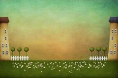 δέντρα αφισών καρτών σπιτιών φραγών απεικόνιση αποθεμάτων