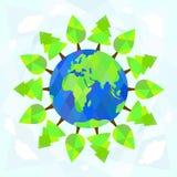 Δέντρα γύρω από τη γη στο μπλε υπόβαθρο εικόνες οικολογίας έννοιας πολύ περισσότεροι το χαρτοφυλάκιό μου Ελεύθερη απεικόνιση δικαιώματος